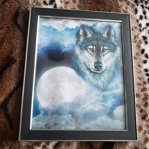 🌻 wolf moon framed art portrait 🌻